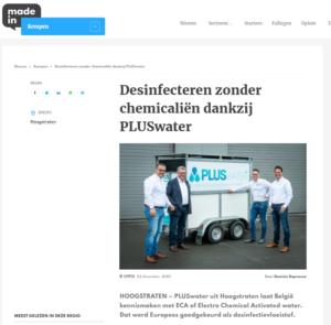 Desinfecteren zonder chemicaliën dankzij PLUSwater
