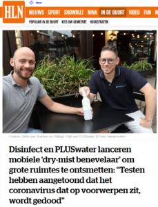 """Disinfect en PLUSwater lanceren mobiele 'dry-mist benevelaar' om grote ruimtes te ontsmetten: """"Testen hebben aangetoond dat het coronavirus dat op voorwerpen zit, wordt gedood"""""""