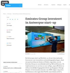 Emirates Group investeert in Antwerpse start-up
